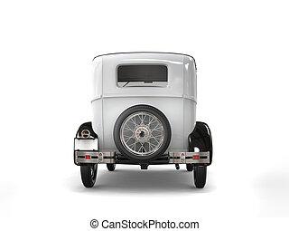 Cool oldtimer white vintage car - back view