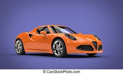 Cool orange sports car - purple background