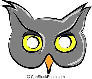 Cool owl mask, illustration, vector on white background.