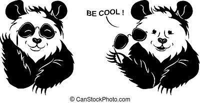 Cool Panda Draws Off Glasses. - Only black on transparent...