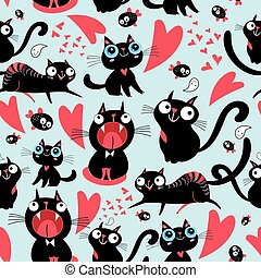 Cool pattern of funny loving cats