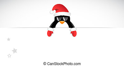 cool penguin with sunglasses and red gloves merry christmas