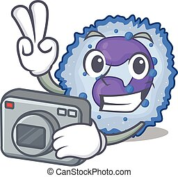 Cool Photographer basophil cell character with a camera. ...