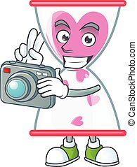 Cool Photographer love clock sand character with a camera