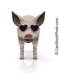 Cool piglet wearing sunglasses. - A cool smiling piglet...