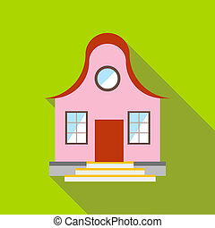 Cool pink house icon, flat style