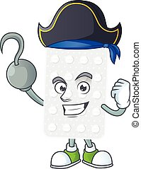 Cool pirate of pills cartoon design style with one hook hand...
