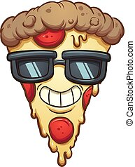 Cool cartoon pizza wearing sunglasses. Vector clip art illustration with simple gradients. Some elements on separate layers.