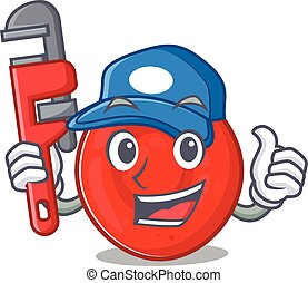 Cool Plumber erythrocyte cell on mascot picture style. ...