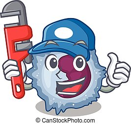 Cool Plumber monocyte cell on mascot picture style. Vector ...
