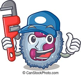 Cool Plumber neutrophil cell on mascot picture style. Vector...