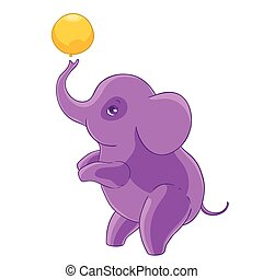 Cool purple cartoon elephant standing on hind legs and playing balloon.