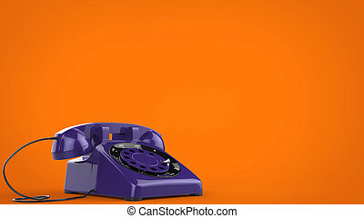 Cool purple vintage telephone - 3D Illustration