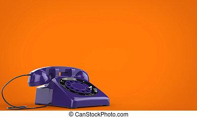 Cool purple vintage telephone - 3D Illustration