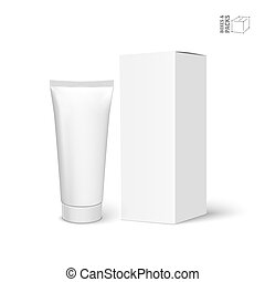 Cool Realistic white tube and packaging