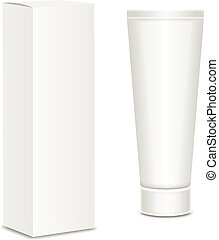 Cool Realistic white tube and packaging. For cosmetics, ...