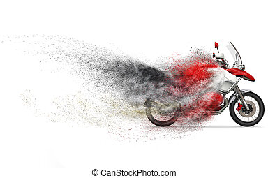 Cool red and white motorcycle - dust disintegration FX