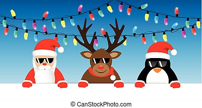cool reindeer santa and penguin cartoon with sunglasses and christmas fairy lights