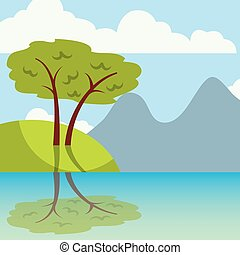 Cool relaxing landscape icon vector illustration design...
