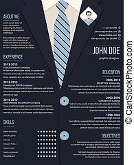 Cool resume cv template with business suit background - Cool...