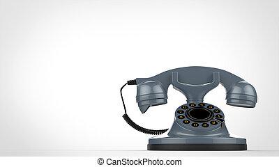 Cool retro blue vintage telephone - 3D Illustration