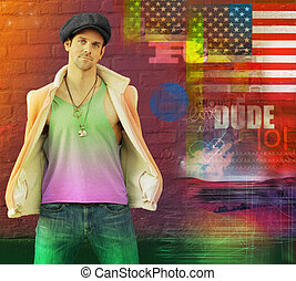 Cool retro dude - Cool stylized portrait of a hip young male...