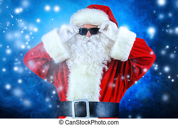cool Santa Claus - Modern Santa Claus in sunglasses over...