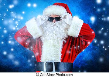 cool Santa Claus - Modern Santa Claus in sunglasses over...