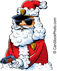 Cool cartoon cop working undercover as a Santa Claus.