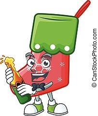 Cool santa socks with beer mascot cartoon style