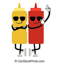 Cool sauce bottles with sunglasses. Fast food