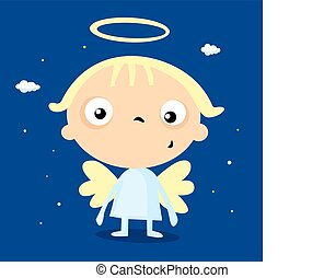 cool simple angel cartoon - vector illustration