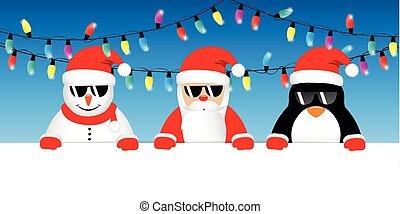 cool snowman santa and penguin cartoon with sunglasses and christmas fairy lights
