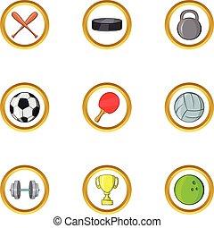 Cool sport icon set, cartoon style