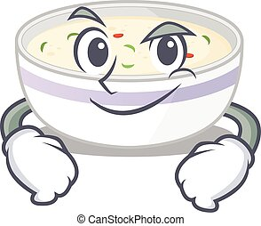 Cool steamed egg mascot character with Smirking face