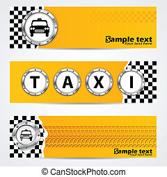 Cool taxi company banner set with metallic elements