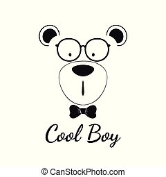 Cool teddy bear boy with glasses isolated on white background.