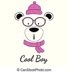 Cool teddy bear boy with in glasses and winter hat isolated on white background.