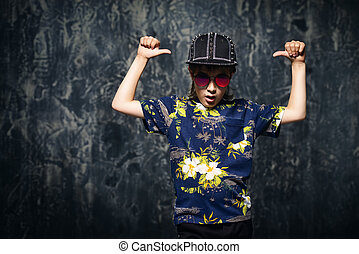 cool ten year old boy - Portrait of a cool trendy...