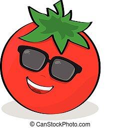Cartoon illustration of a cool tomato wearing sunglasses