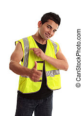 Cool tradesman laborer thumbs up success