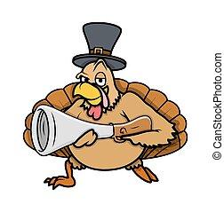 Cool Turkey Bird with Gun and Hat