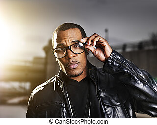 cool urban african american man  posing