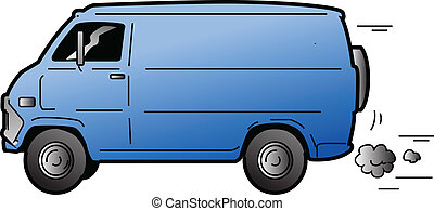 Cool Van - Cool Beat-up Blue Van
