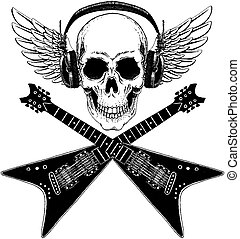 Cool vector rock music skull with headphones for t-shirt, emblem, logo, tattoo, sketch, patch