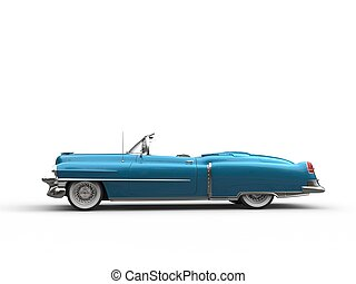 Cool vintage car - metallic blue - side view