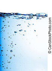 A background water abstract with blue bubbles