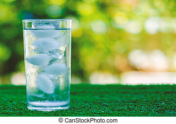 Cool water into a glass of ice