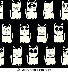 cool white cats with different characters on black background, seamless pattern background