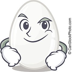 Cool white egg mascot character with Smirking face